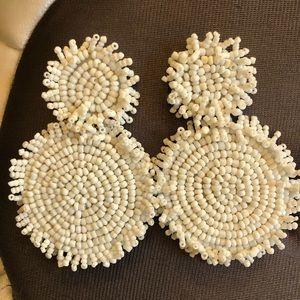 Beaded White Statement Earrings